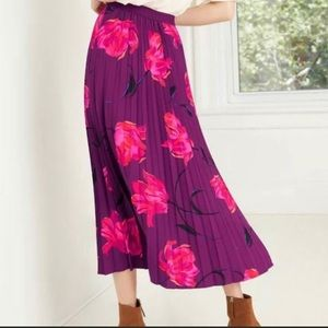 NWT a new day A-Line Purple Floral Pleated Skirt M